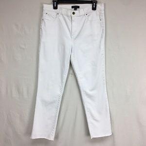 Ann Taylor White Frayed Hem Slim Cropped Jeans